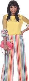 Love The Queen 17269-17270 Sheer Sleeve Floral Ruffle Trim Top & Colorful Wide Stripe Pant
