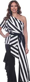 Love The Queen 17271-17272 Striped One Shoulder Top And Side Ruffle Pant Set
