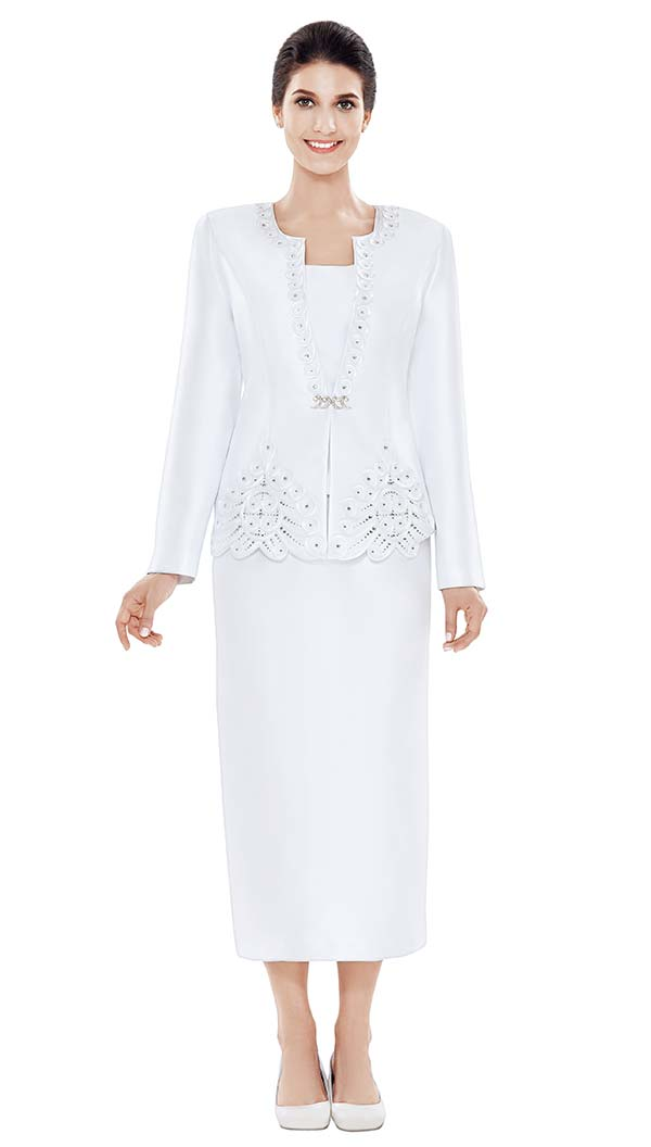 Nina Massini 2471 Womens Silky Twill Church Suit With Embellished Jacket