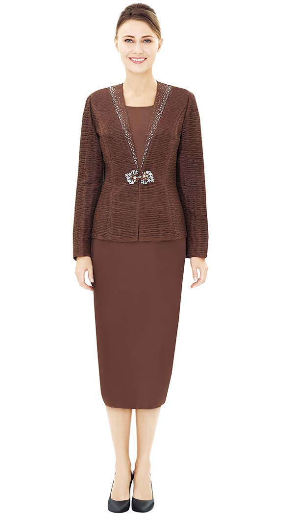 Nina Massini 2474 Jacket & Skirt Outfit With Embellished Neckline