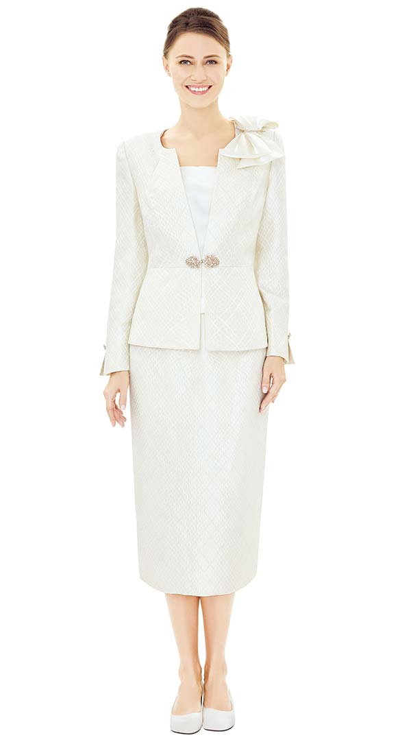 Nina Massini 2503 Womens Classic Church Suit With Shoulder Bow Adornment