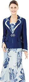 Nina Massini 2504 Painted Flower Print Flared Skirt Suit With Rounded Lapel Jacket
