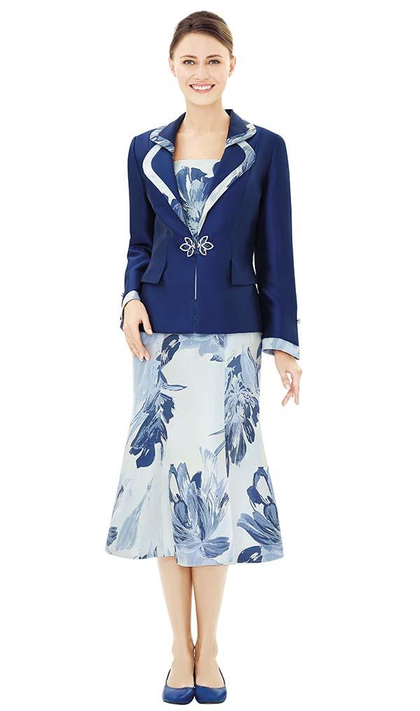 Nina Massini 2504 Painted Flower Print Flared Skirt Suit With Rounded Lapel Jacket