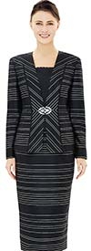Nina Massini 2507 Jacket & Skirt Outfit With Multi Directional Stripe Pattern