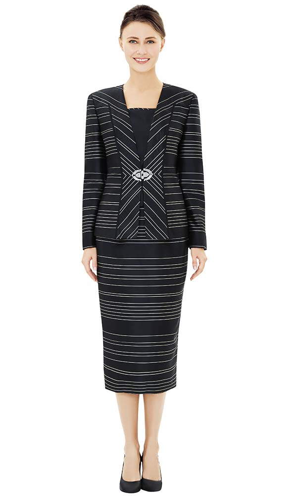 Nina Massini 2507 Jacket & Skirt Outfit With Multi Directional Stripe Pattern