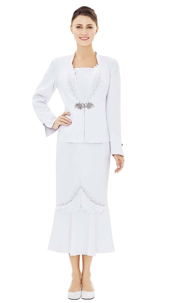 Nina Massini 2512 Sawtooth Trim Jacket & Flounce Skirt Set
