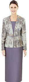 Nina Massini 2513 Print Design Jacket & Solid Skirt Set