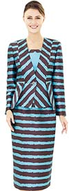 Nina Massini 2524 Jacket & Skirt Set With Striped Design