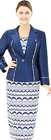 Nina Massini 2532 Notch Lapel Silky Twill Jacket & Crescent Pattern Skirt Outfit