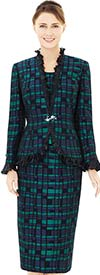 Nina Massini 2534 Ruffle Trimmed Jacket & Skirt Suit With Multi Block Design Print