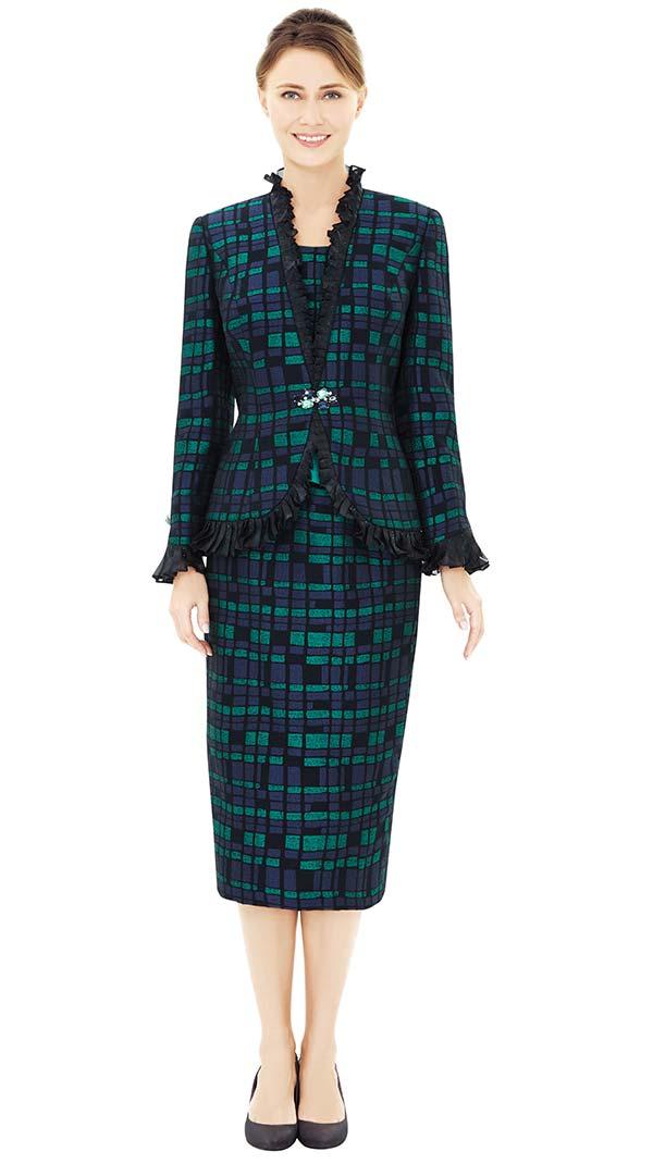 Nina Massini 2534 Ruffle Trimmed Jacket & Skirt Suit With Multi Block Design Print