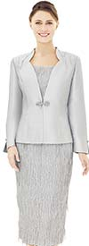 Nina Massini 2535 Star Neckline Silky Twill Jacket & Textured Design Skirt