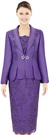 Nina Massini 2537 Womens Lace Skirt & Embellished Silky Twill Jacket Set