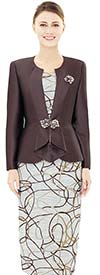 Nina Massini 2544 Womens Novelty Print Fabric Skirt & Silky Twill Jacket Set