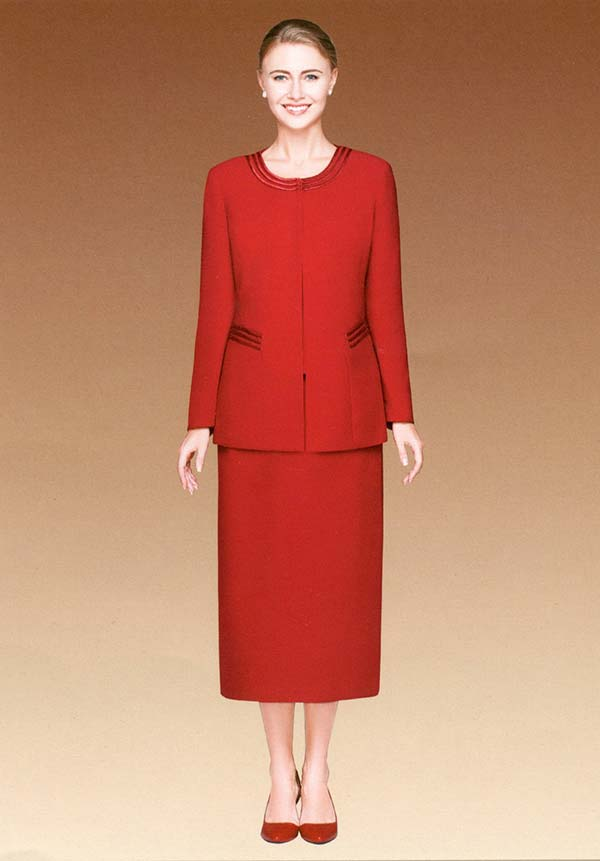 Nina Massini 2317-Red Three Piece Basic Jewel Neckline Skirt Suit