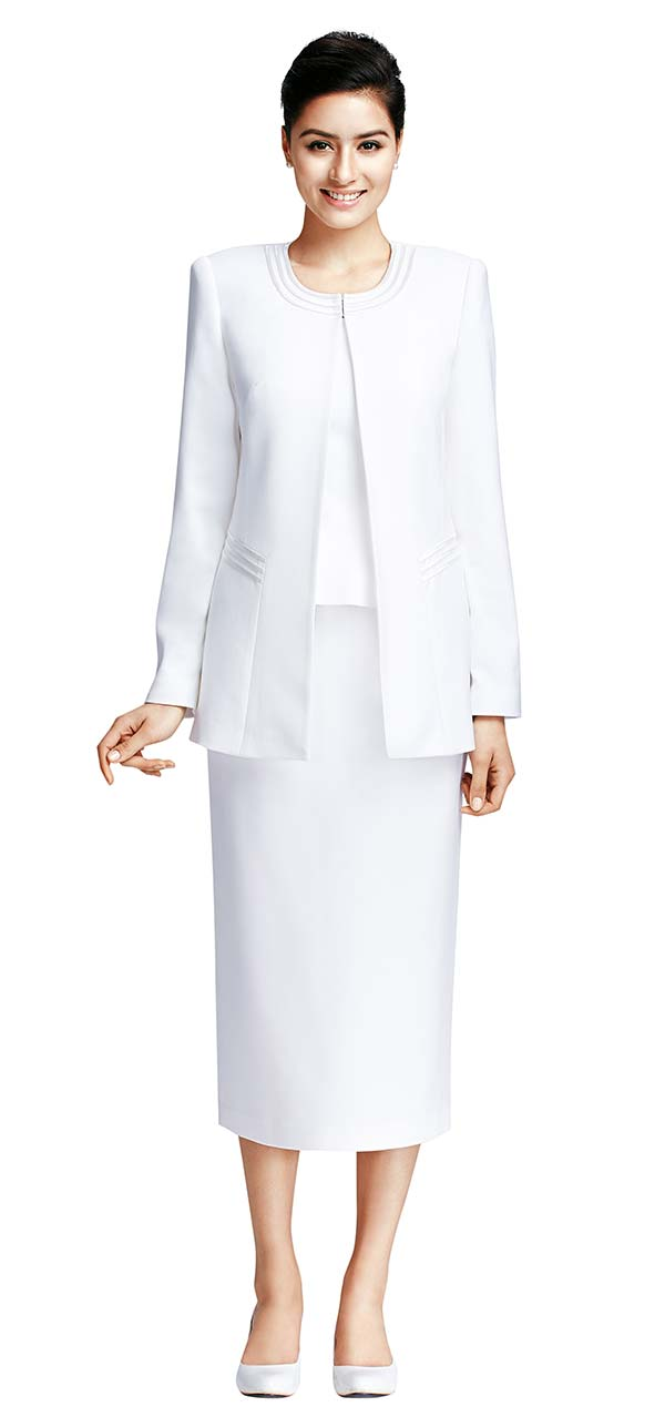 Nina Massini 2317-White Three Piece Basic Jewel Neckline Skirt Suit
