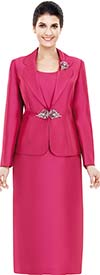 Nina Massini 2368-Rose - Three Piece Womens Church Suit With Rounded Lapels