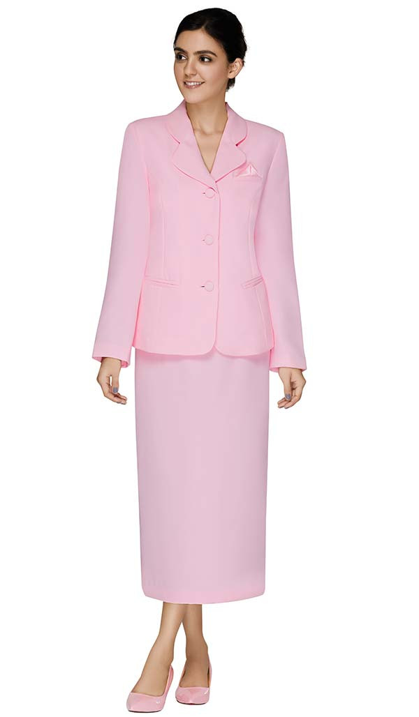 Nina Massini 2417-Pink Two Piece Basic Skirt Suit With Clover Style Lapel