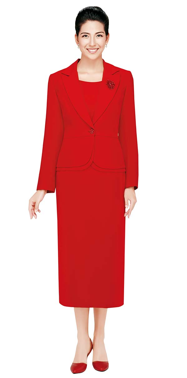 Nina Massini 2429 Three Piece Basic Notch Lapel Skirt Suit