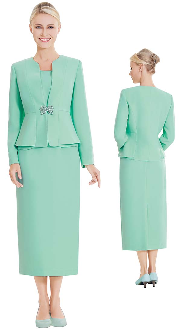 Nina Massini 2461-Sage - Three Piece Womens Basic Church Suit