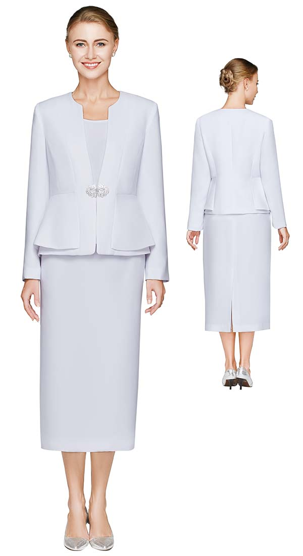 Nina Massini 2461-White - Three Piece Womens Basic Church Suit