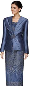 Nina Massini 2470 Lace Design Skirt And Chamisole Set With Silky Twill Fabric Jacket