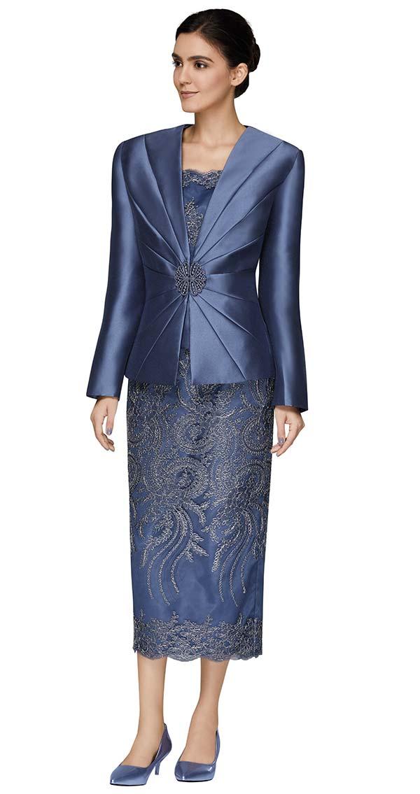 Nina Massini 2470 Lace Design Skirt And Chamisole Set With Silky Twill Fabric Jacket