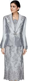 Nina Massini 2537 Lace Design Skirt And Chamisole Set With Silky Twill Fabric Shawl Lapel Jacket