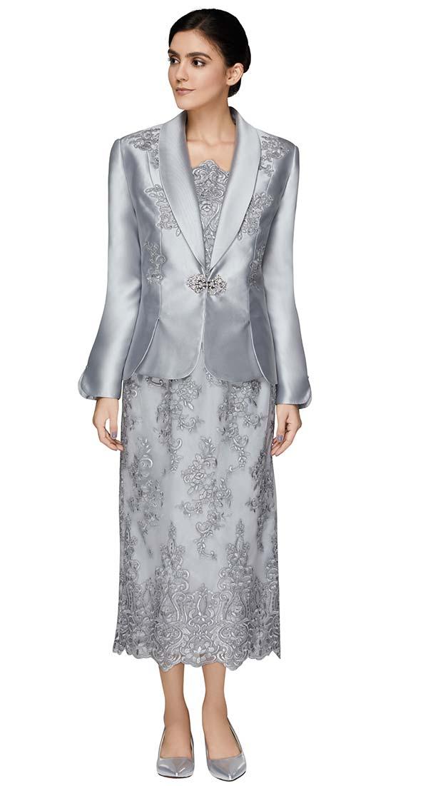 Nina Massini 2537 Lace Design Skirt And Chamisole Set With Silky Twill Fabric Shawl Lapel Jacket