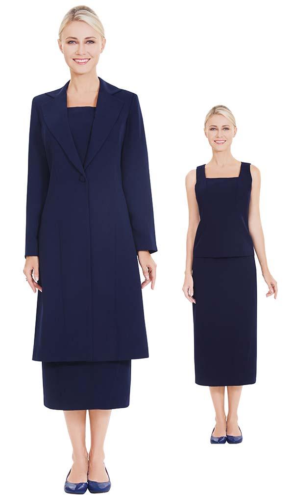 Nina Massini 2541 Three Piece Skirt Suit With Long Jacket