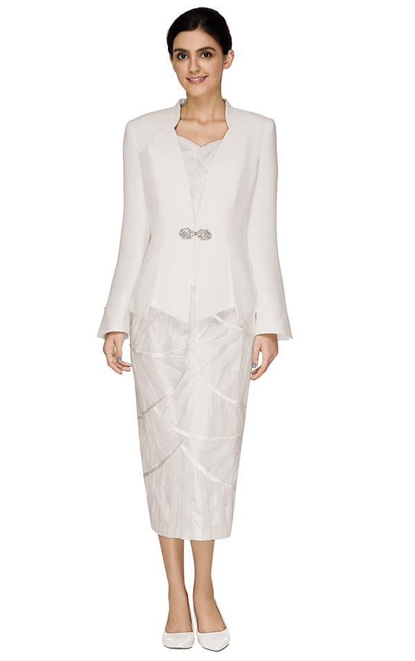 Nina Massini 2569 Church Suit With Tulip Petal Design Pattern Skirt And Star Neckline Jacket