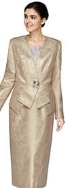 Nina Massini 2570 Womens Skirt Suit In Novelty Fabric With Subtle Zig Zag Pattern Print