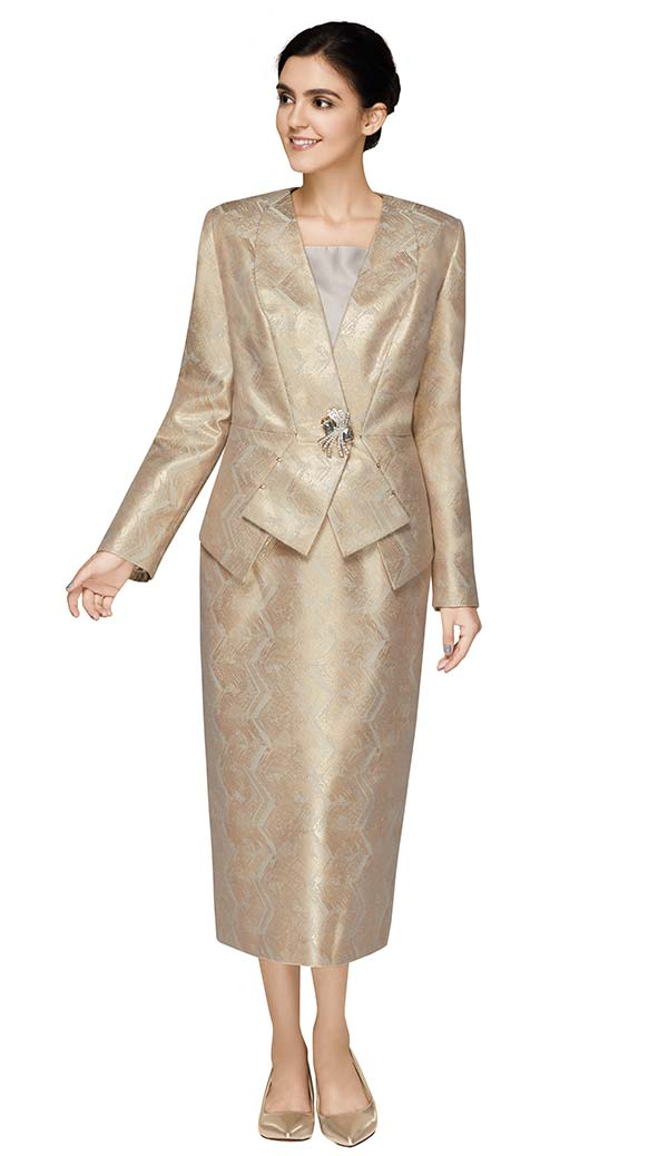 Nina Massini 2570 Womens Skirt Suit In Novelty Fabric With Subtle Zig Zag Pattern Print