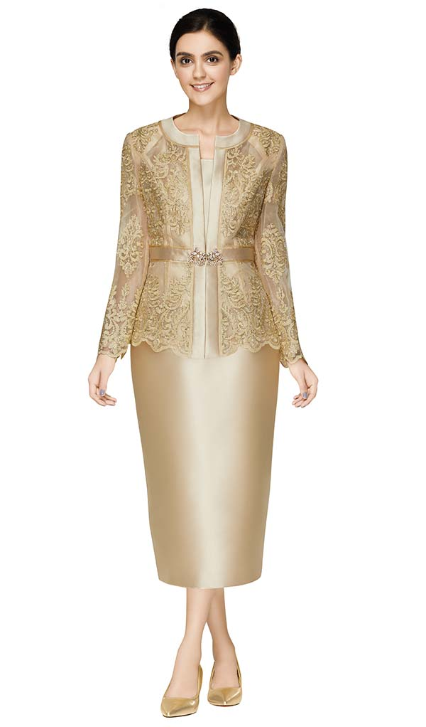 Nina Massini 2586 Womens Church Suit With Silky Twill Skirt And Scallop Trimmed Lace Jacket