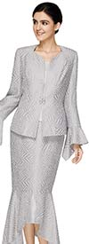 Nina Massini 2587 Womens  Zig Zag Pattern Split Flounce Skirt Suit With Handkerchief Cuff Diamond Neckline Jacket