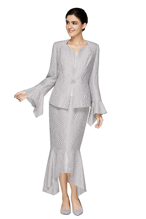 Nina Massini 2587 Womens  Zig Zag Pattern Split Flounce Skirt Suit With Handkerchief Cuff Diamond Neckline Jacket