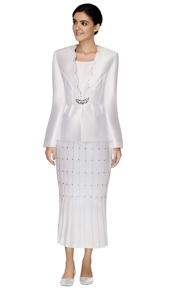 Nina Massini 2593 Three Piece Church Suit With Embellished Grid Pattern Flared Skirt And Scalloped Neckline Jacket
