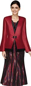 Nina Massini 3002 Womens Multi Color Pattern Design Skirt Suit With Solid Button Cuff Jacket