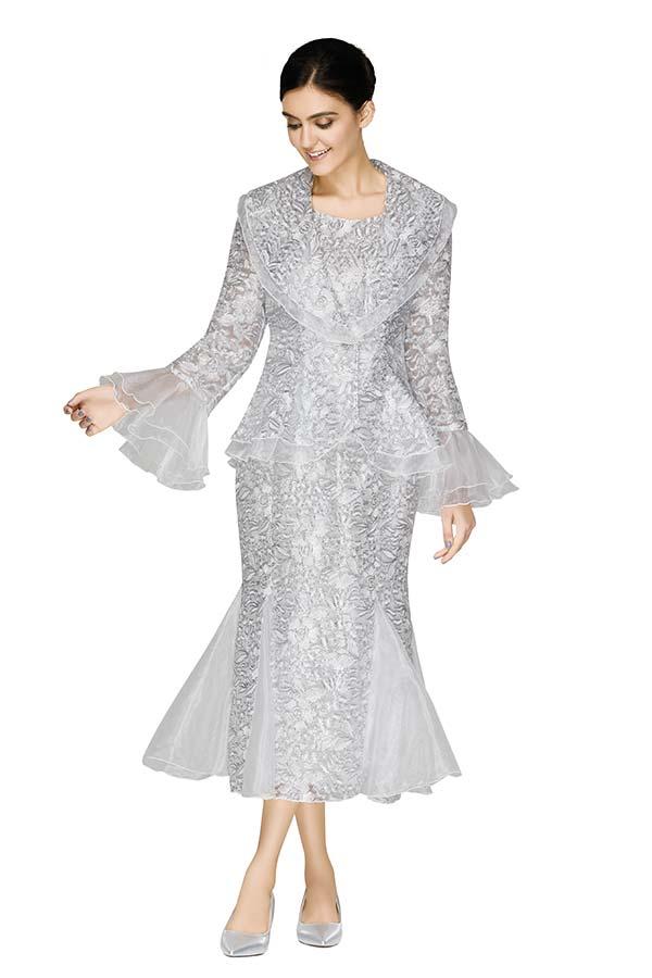 Nina Massini 3008 Organza Trimmed Womens Skirt Suit With Wide Collar Peplum Jacket