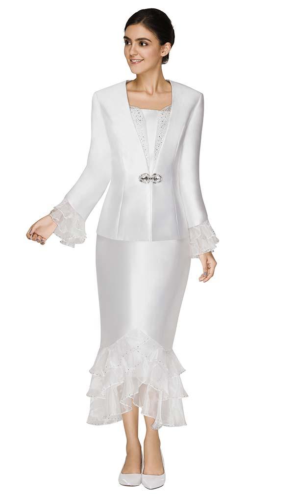 Nina Massini 3009 Womens Suit With Organza Flounce Hem Skirt And Sleeve Cuffs