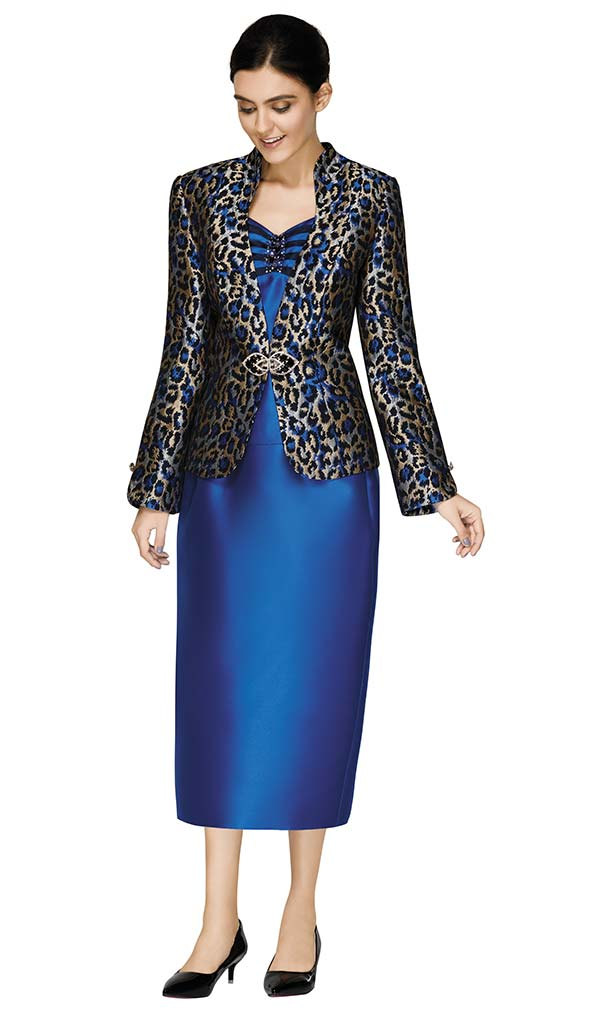 Nina Massini 3011 Womens Skirt Suit With Animal Print Jacket
