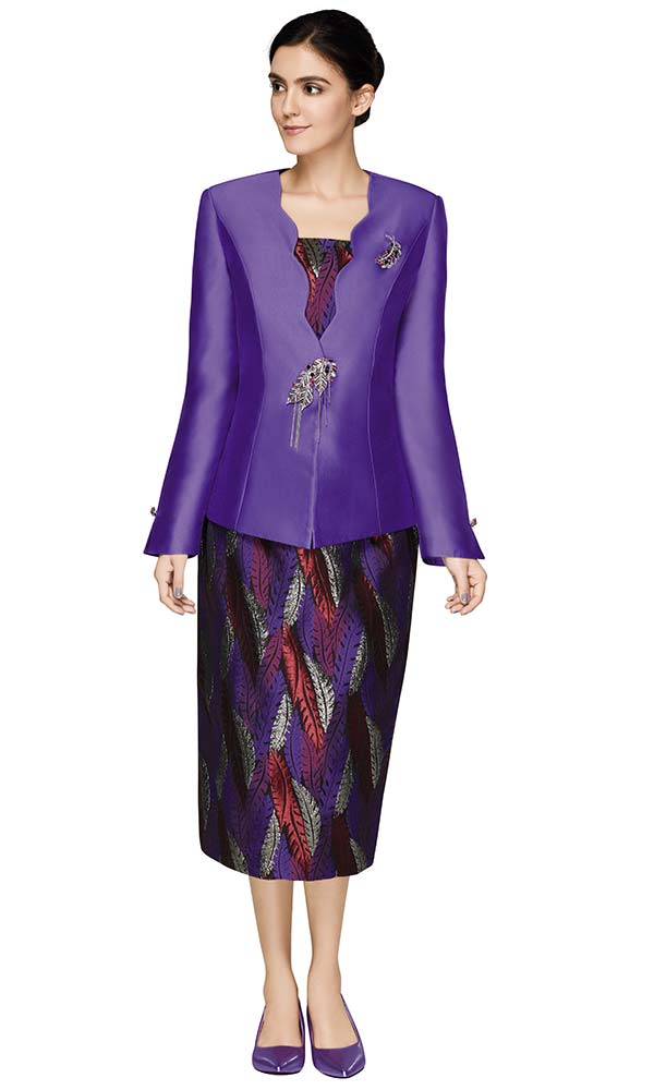 Nina Massini 3012 Womens Suit With Feather Print Skirt And Solid Scallop Neckline Jacket
