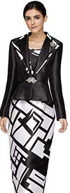 Nina Massini 3013 Three Piece Church Suit With Abstract Geometric Print On Skirt And Jacket Trim