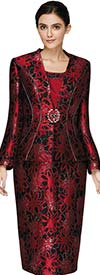 Nina Massini 3016 Womens Skirt Suit In Brocade Look Novelty Fabric