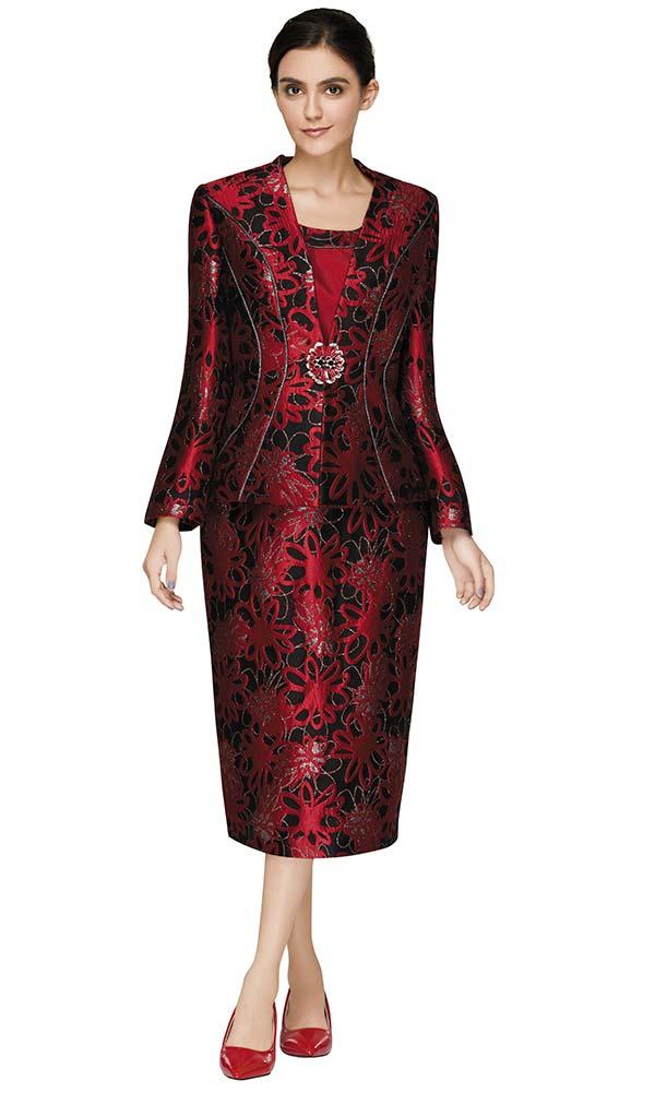 Nina Massini 3016 Womens Skirt Suit In Brocade Look Novelty Fabric