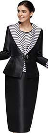 Nina Massini 3019 Three Piece Womens Suit With Striped Wide Collar And Cuffs