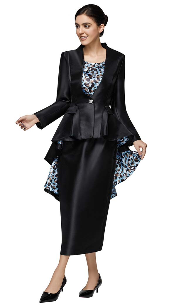 Nina Massini 3020 Skirt And High Low Peplum Jacket Set With Animal Print Lining