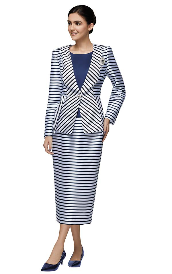Nina Massini 3028 Three Piece Womens Suit In Striped Design With Solid Color Camisole