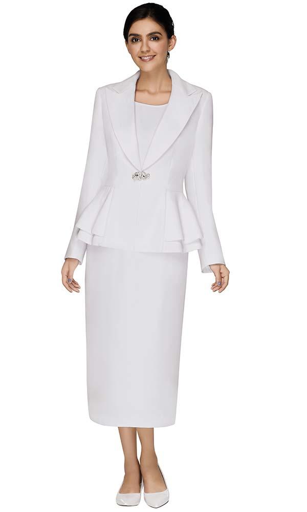 Nina Massini 3303 Womens Peak Lapel Layered Peplum Jacket And Skirt Suit