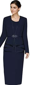 Nina Massini 3305 Ladies Skirt Suit With Piping Trimmed Jacket